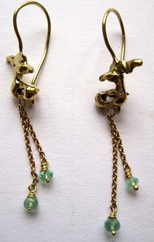 Gold 18ct little deers earrings with