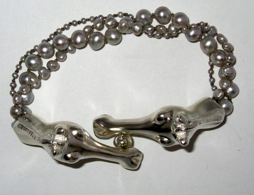 Silver Pearl Bracelet with